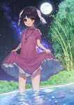 1girl absurdres an_skill animal_ears bamboo black_hair breasts brown_eyes bunny_ears bush carrot_necklace commentary_request d: dress eyebrows_visible_through_hair eyelashes eyes_visible_through_hair fireflies floppy_ears frilled_dress frills full_moon highres holding_dress inaba_tewi lifted_by_self light_blush looking_at_viewer milky_way moon night night_sky open_mouth outdoors petticoat pink_dress puffy_short_sleeves puffy_sleeves short_hair short_sleeves skirt_hold sky small_breasts solo standing star_(sky) starry_sky tareme thighs touhou tree wading water