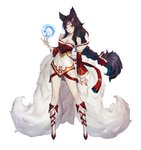 1girl ahri animal_ears bare_shoulders black_hair breasts cleavage closed_mouth duto extra_tails facial_mark fingernails fox_ears fox_tail highres kitsune league_of_legends long_fingernails long_hair orange_eyes ponytail sharp_fingernails shiny shiny_skin simple_background solo standing tail very_long_hair white_background