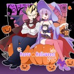 1boy 1girl 2014 bad_id belt blonde_hair blue_eyes bulma cape dragon_ball dragon_ball_z family ghost gloves halloween halloween_costume happy_halloween hat lantern miwa_(m-iwamiwa2014) pumpkin purple_eyes purple_hair silk spider spider_web super_saiyan thighhighs trunks_(dragon_ball) vegeta white_gloves wizard_hat
