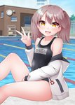 1girl black_swimsuit blue_sky brown_eyes brown_hair clock cloud commentary_request cowboy_shot day drawstring fang highres hood hooded_jacket hoodie jacket kantai_collection kirigakure_(kirigakure_tantei_jimusho) long_hair looking_at_viewer outdoors pool ryuujou_(kantai_collection) school_swimsuit sitting skin_fang sky smile solo swimsuit twintails v white_jacket