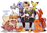 1boy backpack bag black_pants blonde_hair bottle capri_pants charmander closed_eyes copyright_name dratini dugtrio glasses highres kazue_kato magikarp magnemite male_focus male_protagonist_(pokemon_go) open_mouth pants pichu pokemon pokemon_(creature) pokemon_go scizor shirt shoes simple_background sitting smile sneakers sweat t-shirt umbreon visor_cap water_bottle white_background