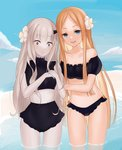 2girls abigail_williams_(fate/grand_order) bangs bare_shoulders bikini black_bikini blonde_hair blue_eyes blue_sky blush breasts closed_mouth collarbone fate/grand_order fate_(series) flower forehead hair_flower hair_ornament highres horn inanami lavinia_whateley_(fate/grand_order) long_hair looking_at_viewer miniskirt multiple_girls navel open_mouth pale_skin parted_bangs purple_eyes skirt sky small_breasts smile swimsuit thighs wading water white_hair wide-eyed