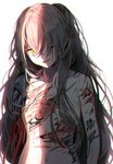1girl android bangs breasts collarbone crossed_bangs deep_wound digi-mind_update_(girls_frontline) girls_frontline grey_hair hair_between_eyes hair_ornament head_tilt injury long_hair looking_at_viewer nude one_eye_closed one_side_up open_mouth parts_exposed prosthesis prosthetic_arm scar scar_across_eye sidelocks silence_girl simple_background small_breasts solo stomach torn_skin ump45_(girls_frontline) upper_body white_background wire yellow_eyes