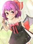 1girl alternate_costume arm_behind_back bat_wings black_dress blush bow collarbone dress dutch_angle full-face_blush grin hair_ribbon highres looking_to_the_side permanentlow petals purple_hair red_eyes remilia_scarlet ribbon short_hair sleeveless smile solo touhou wings