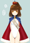 1girl arle_nadja arms_behind_back ass_visible_through_thighs brown_hair cape cowboy_shot crown fur-trimmed_cape half_updo highleg highleg_swimsuit highres looking_at_viewer madou_monogatari michio_(fuelmeter) puyopuyo sash short_hair side_ponytail solo standing strapless strapless_swimsuit swimsuit translation_request white_swimsuit