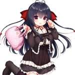 1girl antenna_hair bag bangs black_footwear black_hair blush boots breasts brown_dress brown_legwear commentary_request copyright_request dress eyebrows_visible_through_hair fingernails frilled_dress frills hair_between_eyes hair_ribbon handbag hands_up heart heart_print holding holding_bag long_hair long_sleeves looking_at_viewer medium_breasts parted_lips red_eyes red_ribbon ribbon simple_background sleeves_past_wrists smile solo standing standing_on_one_leg usashiro_mani very_long_hair watermark white_background