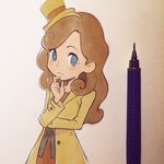 1girl blue_eyes blush_stickers brown_hat brown_jacket buttons catriel_layton closed_mouth curly_hair dress finger_to_mouth hat ilya_kuvshinov lady_layton light_brown_hair long_hair long_sleeves mini_hat mini_top_hat paper pen photo professor_layton red_dress smile solo thinking top_hat traditional_media upper_body