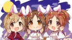 3girls :d abe_nana aiba_yumi animal_ears blush brown_eyes brown_hair bunny_ears chibi closed_mouth dango eyebrows_visible_through_hair flower food full_moon hair_between_eyes hair_flower hair_ornament hands_up high_ponytail idolmaster idolmaster_cinderella_girls japanese_clothes kemonomimi_mode kimono light_brown_hair long_sleeves moon multiple_girls omuretsu open_mouth parted_lips ponytail purple_kimono red_flower red_kimono ribbon-trimmed_sleeves ribbon_trim smile totoki_airi wagashi wide_sleeves