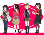 4girls bag beret black_dress black_hair black_legwear blonde_hair blush boots brown_eyes brown_hair caesar_(girls_und_panzer) camera casual coat computer denim dress emblem erwin_(girls_und_panzer) flower girls_und_panzer glasses hair_flower hair_ornament hand_in_pocket handbag hat high_heels hippopotamus jeans laptop long_hair looking_at_viewer miniskirt multiple_girls open_mouth oryou_(girls_und_panzer) osaka_kanagawa pants pantyhose pencil_skirt pleated_skirt ponytail red-framed_glasses saemonza scarf semi-rimless_glasses shirt short_hair skirt smile socks standing sweater turtleneck vest watch
