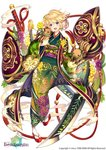 1girl :d acacia_(flower_knight_girl) animal blonde_hair boar chinese_zodiac city_forest_online copyright_name floral_print flower flower_knight_girl full_body green_kimono hair_flower hair_ornament happy japanese_clothes kimono looking_at_viewer obi official_art open_mouth print_kimono purple_eyes sandals sash short_hair simple_background smile smoke solo sword weapon white_background year_of_the_pig