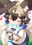 2girls :t ^_^ african_wild_dog_(kemono_friends) animal_ear_fluff animal_ears bangs black_gloves black_hair blue_pants blurry blurry_background blush brown_bear_(kemono_friends) brown_hair closed_eyes closed_mouth commentary_request depth_of_field dog_ears dog_girl dog_tail elbow_gloves eyebrows_visible_through_hair fingerless_gloves gloves hair_between_eyes heart highres hug kemono_friends long_sleeves lucky_beast_(kemono_friends) makuran multicolored_hair multiple_girls out_of_frame pants petting robot shirt short_over_long_sleeves short_sleeves tail two-tone_hair white_shirt