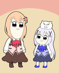 2girls :3 angora_rabbit animal bangs bkub_(style) blue_footwear blue_neckwear blue_skirt blue_vest boots bow bowtie brown_footwear brown_legwear bunny clenched_teeth closed_mouth commentary dark_skin eyebrows_visible_through_hair gochuumon_wa_usagi_desu_ka? hair_between_eyes hair_ornament hoto_cocoa kafuu_chino light_brown_hair long_hair long_sleeves massala multiple_girls pantyhose pink_neckwear pink_vest poptepipic purple_eyes rabbit_house_uniform shirt skirt standing teeth tippy_(gochiusa) uniform very_long_hair vest waitress white_legwear white_shirt x_hair_ornament