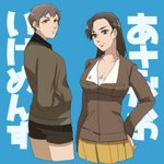 2girls asymmetrical_bangs background_text bangs black_hair black_shorts blue_background breasts brown_eyes brown_hair brown_jacket cleavage closed_mouth cowboy_shot cropped_legs freckles from_side girls_und_panzer hand_on_hip hands_in_pockets hao_(udon) jacket large_breasts light_frown long_hair long_sleeves looking_at_viewer military military_uniform miniskirt multiple_girls naomi_(girls_und_panzer) nishi_kinuyo pleated_skirt saunders_military_uniform shirt short_hair shorts skirt standing translated uniform very_short_hair white_shirt yellow_skirt