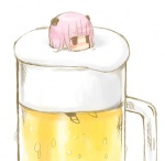 1girl alcohol animal_ears bad_id bad_pixiv_id bear_ears beer chibi cup face froth in_container in_cup lowres minigirl original pink_hair red_eyes solo tsunako