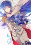 1boy blue_eyes blue_hair bouquet cape commentary european_clothes fire_emblem fire_emblem:_ankoku_ryuu_to_hikari_no_tsurugi fire_emblem:_monshou_no_nazo fire_emblem:_shin_ankoku_ryuu_to_hikari_no_tsurugi fire_emblem:_shin_monshou_no_nazo fire_emblem_heroes flower gloves highres holding holding_bouquet kariya_(mizore) looking_at_viewer marth petals smile solo vest