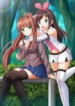 2girls a.i._channel ahoge bare_shoulders black_legwear blazer blue_skirt blurry blurry_background brown_hair brown_jacket bush collared_shirt commentary crossover day depth_of_field detached_sleeves doki_doki_literature_club forest hair_intakes hair_ribbon hat hej_monika highres jacket kazenokaze kizuna_ai long_hair long_sleeves monika_(doki_doki_literature_club) multicolored_hair multiple_girls nature navel outdoors pink_hat pink_ribbon pleated_skirt ponytail ribbon shirt short_shorts shorts skirt sleeveless sleeveless_shirt sleeves_past_wrists standing standing_on_one_leg streaked_hair swedish_commentary thighhighs tree very_long_hair virtual_youtuber white_legwear white_shirt white_shorts