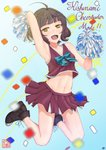 1girl absurdres adapted_costume ahoge bangs black_footwear blunt_bangs brown_eyes brown_hair brown_skirt cheerleader commentary_request crop_top crop_top_overhang full_body highres huge_filesize jumping kantai_collection kishinami_(kantai_collection) looking_at_viewer midriff no_socks open_mouth pleated_skirt pom_poms short_hair skirt smile solo wavy_hair yunoji_yusuke