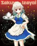 15_(tooka) 1girl apron braid character_name hand_on_hip izayoi_sakuya looking_at_viewer maid maid_headdress multiple_girls red_eyes short_hair side_braids silver_hair smile solo tea_set touhou tray twin_braids