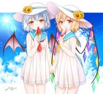 2girls alternate_costume alternate_headwear bare_arms bat_wings blonde_hair blue_sailor_collar blue_sky cloud commentary_request condensation_trail dated day dress eating eyebrows_visible_through_hair flandre_scarlet flower food food_in_mouth hair_between_eyes haruki_(colorful_macaron) hat hat_flower head_tilt holding holding_food holding_hands lens_flare light_blue_hair looking_at_viewer multiple_girls neckerchief outdoors partial_commentary popsicle red_eyes red_neckwear remilia_scarlet sailor_collar short_dress short_hair siblings side_ponytail signature sisters sky standing sun_hat sundress sunflower touhou watermelon_bar wings yellow_neckwear