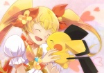 1girl ^_^ bad_id bad_pixiv_id blonde_hair blush bow choker closed_eyes color_connection crossover cure_sunshine gen_2_pokemon hair_bow heartcatch_precure! long_hair magical_girl myoudouin_itsuki orange_bow orange_choker pichu pokemon pokemon_(creature) precure smile twintails yellow_bow yoshi_(danball)