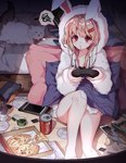 1girl barefoot blonde_hair blush breasts bunny cat cellphone chips cleavage closed_mouth coca-cola collarbone controller earbuds earphones eyebrows_visible_through_hair food game_controller hair_ornament hairclip harin_0 hood hoodie indoors long_hair looking_away medium_breasts night original phone pillow pizza pizza_box potato_chips red_eyes sitting smartphone socks socks_removed solo speech_bubble