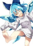 1girl barefoot blue_bow blue_hair bow cirno closed_eyes deetamu hair_bow highres naked_sweater open_mouth ribbed_sweater sleeves_past_fingers sleeves_past_wrists solo sweater touhou turtleneck turtleneck_sweater white_sweater wings