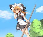 1girl apron bamboo_broom black_skirt black_vest blonde_hair blue_sky blush braid bright_pupils broom cloud cycloneyukari day dutch_angle feet_out_of_frame fingernails from_below hand_in_hair hat high_collar holding holding_broom kirisame_marisa long_hair looking_away orange_eyes outdoors petticoat puffy_short_sleeves puffy_sleeves shirt short_sleeves single_braid skirt sky smile solo standing standing_on_one_leg touhou tree vest waist_apron white_shirt wind witch_hat