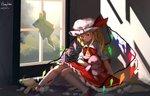 1girl ascot blonde_hair broken broken_glass broken_window dated flandre_scarlet frilled_skirt frills furahata_gen glass half-closed_eyes hat highres holding holding_stuffed_animal holding_toy indoors knees_together_feet_apart looking_down medium_hair mob_cap one_side_up plant pointy_ears puffy_short_sleeves puffy_sleeves red_eyes red_skirt red_vest shirt short_sleeves sidelocks signature skirt solo stuffed_animal stuffed_bunny stuffed_toy stuffing sunlight teddy_bear torn touhou vest white_shirt wings yellow_neckwear