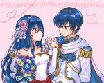 1boy 1girl bare_shoulders blue_eyes blue_hair blush bride commentary couple dress elbow_gloves fire_emblem fire_emblem:_monshou_no_nazo formal gloves hair_ornament hetero husband_and_wife jewelry kumakosion long_hair marth necklace sheeda simple_background smile strapless suit tiara wedding_dress white_dress white_gloves
