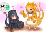 +++ 2girls :/ ? ^_^ apron arm_support bangs black_hair blush bow braid chibi closed_eyes closed_mouth collar commentary dog_collar dress eyebrows_visible_through_hair frills full_body gloves godzilla godzilla_(series) hair_ornament hairband hakumaiya hand_puppet highres kemono_friends king_ghidorah long_dress long_hair looking_at_another medium_hair multicolored_hair multiple_girls multiple_tails open_mouth orange_hair parted_bangs personification pocket puppet red_eyes red_hair shin_godzilla short_sleeves sidelocks single_braid sitting smile standing tail thought_bubble toy toy_tank two-tone_hair two_tails wariza |d
