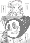 charlotte_(madoka_magica) comic drill_hair fork hair_ornament hat highres kosshii_(masa2243) mahou_shoujo_madoka_magica mami_mogu_mogu monochrome tomoe_mami translated twin_drills twintails