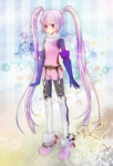 1girl ak0130 arms_at_sides belt bodysuit flower full_body gloves lace long_hair o-ring purple_eyes purple_hair shoes sidelocks solo sophie_(tales) tales_of_(series) tales_of_graces thighhighs twintails white_legwear
