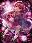 1girl ankle_socks frilled_skirt frilled_sleeves frills gradient gradient_background hairband head_tilt heart highres itsumizu komeiji_satori long_sleeves looking_at_viewer mary_janes open_mouth petals pink_eyes pink_hair shoes short_hair sitting skirt solo third_eye touhou vines
