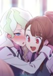 2girls akira_(natsumemo) bad_source bangs blunt_bangs blush brown_hair collared_shirt diana_cavendish eyebrows_visible_through_hair half-closed_eyes hand_on_another's_shoulder heavy_breathing hug kagari_atsuko little_witch_academia long_sleeves multiple_girls neck_ribbon open_mouth ribbon school_uniform shirt sidelocks smile sweat upper_body white_hair yuri