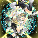 1boy 1girl aqua_eyes arm_warmers armpits bad_id bad_pixiv_id blonde_hair brother_and_sister detached_sleeves hair_ornament hair_ribbon hairclip hana_(mew) headphones kagamine_len kagamine_len_(append) kagamine_rin kagamine_rin_(append) leg_warmers navel open_mouth outstretched_arms ribbon short_hair shorts siblings smile spread_arms thighhighs twins vocaloid vocaloid_append
