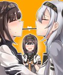 3girls absurdres ahoge akizuki_(kantai_collection) bangs black_headband black_sailor_collar blush bodysuit breasts brown_hair closed_eyes closed_mouth clothes_writing commentary_request eyebrows_visible_through_hair food gloves grey_eyes hachimaki hair_between_eyes hair_flaps hair_ornament hairband hatsuzuki_(kantai_collection) headband heart highres kantai_collection kiritto long_hair looking_at_another medium_breasts mouth_hold multiple_girls neckerchief open_mouth pocky pocky_kiss ponytail sailor_collar school_uniform serafuku shared_food short_hair silver_hair standing suzutsuki_(kantai_collection) sweatdrop white_bodysuit yuri