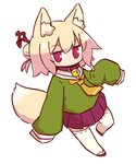 1girl animal_ear_fluff animal_ears bangs bell bell_collar blonde_hair blush brown_collar brown_footwear closed_mouth collar commentary_request eyebrows_visible_through_hair fox_ears fox_girl fox_tail full_body green_shirt hair_between_eyes hair_bun hair_ornament highres jingle_bell kemomimi-chan_(naga_u) long_hair long_sleeves naga_u orange_neckwear original pleated_skirt purple_skirt red_eyes ribbon-trimmed_sleeves ribbon_trim sailor_collar shirt sidelocks simple_background skirt sleeves_past_fingers sleeves_past_wrists solo tail thighhighs white_background white_legwear white_sailor_collar