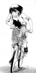 1girl artist_request ayase_fuuka bangs bicycle bicycle_basket capri_pants clenched_teeth eyebrows greyscale ground_vehicle highres jacket looking_afar monochrome no_socks open_clothes open_jacket pants pavement riding shoes short_hair sleeves_pushed_up sneakers solo sweat teeth thick_eyebrows unbuttoned yotsubato!