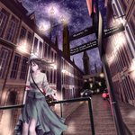1girl arm_behind_back bag bangs blue_eyes breasts building car city city_lights cityscape floating_hair grey_skirt ground_vehicle hat highres lamppost leaning long_hair long_skirt long_sleeves motor_vehicle night night_sky original outdoors road_sign scenery shaded_face shirt shoulder_bag sign skirt sky solo standing star_(sky) starry_sky tower white_hat white_shirt wide_sleeves window yusuke_(shiota)