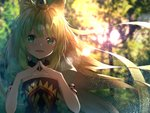 1girl ahoge animal_ear_fluff animal_ears arm_belt atalanta_(fate) backlighting bangs belt belt_buckle black_belt blurry blurry_background blush breasts buckle cat_ears commentary_request depth_of_field dress eyebrows_visible_through_hair fate/apocrypha fate_(series) fingernails floating_hair green_dress green_eyes green_hair hair_between_eyes hands_up highres light_brown_hair long_hair looking_at_viewer multicolored_hair open_mouth puffy_short_sleeves puffy_sleeves short_sleeves small_breasts solo steepled_fingers suisen-21 two-tone_hair upper_body very_long_hair