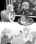 1boy 1girl arsene_lupin_iii arsene_lupin_iii_(cosplay) blush castle_of_cagliostro clarisse_de_cagliostro clarisse_de_cagliostro_(cosplay) cosplay greyscale link long_hair lupin_iii monochrome open_mouth pointy_ears princess_zelda sayoyonsayoyo short_hair smile the_legend_of_zelda the_legend_of_zelda:_breath_of_the_wild tower