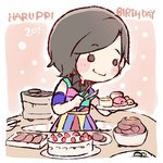 1girl armband black_eyes black_hair blush_stickers cake character_age character_name chibi collared_dress commentary_request dress food grill happy_birthday hkt48 holding holding_plate kodama_haruka lowres meat multicolored multicolored_clothes multicolored_dress o_o plate real_life shichirin short_hair smile solo taneda_yuuta tongs