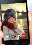 1girl bangs blue_hair blush bridge brooklyn_bridge brown_gloves building cellphone cityscape coat domestic_na_kanojo duffel_coat fingers gloves hands holding_scarf looking_at_phone looking_at_viewer new_york phone phone_screen plaid plaid_scarf reaching_out red_eyes sasuga_kei scarf scenery self_shot short_hair skyscraper smartphone smile solo sun tachibana_rui white_coat
