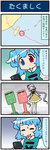 2girls 4koma artist_self-insert bent blue_hair brown_dress cellphone closed_eyes comic commentary dress flower hair_flower hair_ornament heterochromia highres long_hair long_sleeves low_twintails map mizuki_hitoshi multiple_girls open_mouth phone postbox purple_hair real_life_insert shirt smile sweat tatara_kogasa touhou translated tsukumo_benben twintails very_long_hair