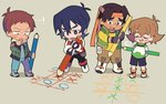 ! 1girl 3boys bandana black_hair blue_eyes brown_eyes brown_hair chin_stroking closed_eyes dark_skin dark_skinned_male fingerless_gloves glasses gloves grey_eyes hood hoodie hunk_(voltron) keith_(voltron) lance_(voltron) miyata_(lhr) multiple_boys open_mouth oversized_object pencil pidge_gunderson shorts smile sweat tic-tac-toe voltron:_legendary_defender