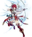 1girl armor arrow bangs boots bow_(weapon) breastplate cozy dress elbow_gloves fire_emblem fire_emblem_heroes fire_emblem_if full_body garter_straps gloves highres hinoka_(fire_emblem_if) holding holding_bow_(weapon) holding_weapon japanese_clothes looking_away official_art one_leg_raised open_mouth quiver red_eyes red_hair scarf short_hair solo thigh_boots thighhighs transparent_background weapon zettai_ryouiki