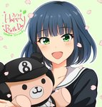 1girl :d black_hair blush character_name dated eyebrows_visible_through_hair green_background green_eyes hachigatsu_no_cinderella_nine happy_birthday highres holding holding_stuffed_animal ken_(ooccoo0515) looking_at_viewer open_mouth petals school_uniform short_hair simple_background smile solo stuffed_animal stuffed_toy suzuki_waka teddy_bear upper_body