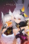 2girls ahoge arm_guards bangs bare_shoulders black_gloves black_hairband braid breasts character_name cleavage cleavage_cutout collarbone commentary_request copyright_name dark_persona dual_persona elbow_gloves empty_eyes eyebrows_visible_through_hair eyelashes faulds fur_collar gloves glowing grey_hair hair_ornament hair_over_one_eye hairband head_wings highres holding_hands honkai_impact kiana_kaslana lips long_hair looking_at_viewer medium_breasts mismatched_gloves motion_blur multiple_girls orange_gloves parted_lips pink_lips purple_background ringed_eyes smile starry-hp straight_hair twin_braids very_long_hair wrist_guards yellow_eyes