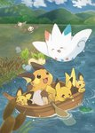 :d >_< blue_sky boat cloud commentary_request day hill konanbo leafeon lotad mudkip no_humans open_mouth outdoors paddle pichu pikachu pokemon pokemon_(creature) raichu reeds river sky smile starly togekiss water watercraft wooper xd