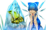 (9) 1girl aritoki_ritsu blue_dress blue_eyes blue_hair bow cirno dress frog frozen frozen_frog hair_ribbon hand_on_own_face ice ice_wings looking_at_another puffy_sleeves ribbon shirt short_hair short_sleeves simple_background sitting sitting_on_rock smile solo text_focus touhou white_background white_shirt wings